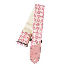 Daisy Rock DRS11 Pink & White Argyle Adjustable Guitar Strap - DRS11