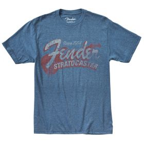 "Genuine Fender ""Since 1954"" Guitar Logo Tee Men's T-Shirt - BLUE - L, LARGE"