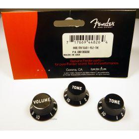 Genuine Fender Stratocaster/Strat Black Guitar Control Knobs - 2 Tone, 1 Volume