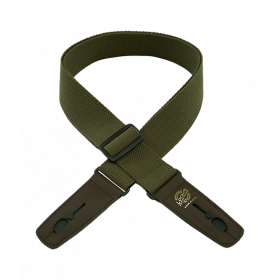 "Lock-It Cotton 2"" Wide Guitar Strap with Locking Leather Ends - Olive/Brown"