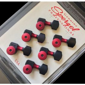 Sperzel 6-In-Line Trimlok Locking Tuners Staggered Tuning Pegs - BLACK & RED
