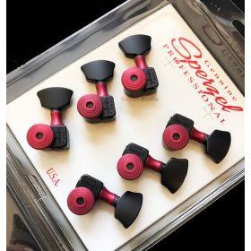 Sperzel 3X3 Trimlok 3-Per-Side Locking Tuners Tuning Pegs - BLACK & RED