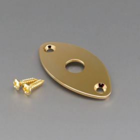 Gotoh JCB-2 Oval Football Shape Curved Jack Plate for Electric Guitar, Gold