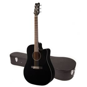 Jasmine by Takamine JD93CE-BLK Black Dreadnought Acoustic-Electric Guitar w/CASE