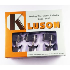 Kluson 6-In-Line Tuners Guitar Tuning Machine Keys - Nickel with Nickel Buttons