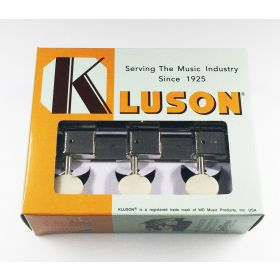 Kluson 3x3 (3-On-A-Plate) Guitar Tuning Machines - Nickel with Plastic Button