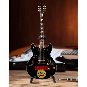 AXE HEAVEN Soundgarden Logo Signature Chris Cornell Black Hollow Body Miniature Guitar Gift