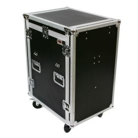 OSP 16-Space ATA Mixer/Amp Rack Flight Tour Road Case with Table - MC12U-16SL