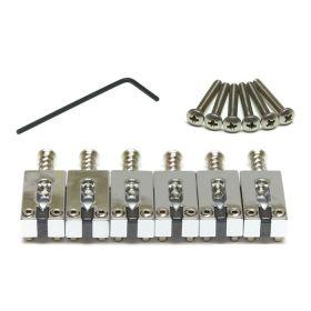 "Graph Tech String Saver CHROME 6 Saddles Set for Fender Strat/Tele 2-1/16"" Space"