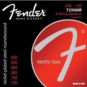 Fender 72506M NPS Roundwound BASS Strings, Long-Scale 6-STRING MEDIUM 30-130