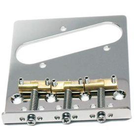 Hipshot 4-Hole 3-Compensated Saddle Telecaster Bridge - STAINLESS STEEL CHROME
