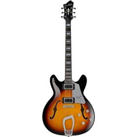 Hagstrom Super Viking Semi-Hollow Flame Maple Electric Guitar - TOBACCO SUNBURST