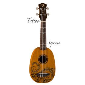 Luna Tattoo Soprano Pineapple Ukuele Uke with Gig Bag