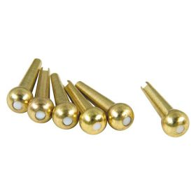 D'Andrea TP4T Acoustic Guitar Tone Pins Gold Brass Bridge Pin Set, White Dot