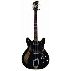 Hagstrom VIK-BLK Viking Semi-Hollow Electric Guitar - BLACK GLOSS