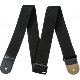 "Charvel Logo 2"" Poly Adjustable Guitar Strap, Black with Leather Ends"