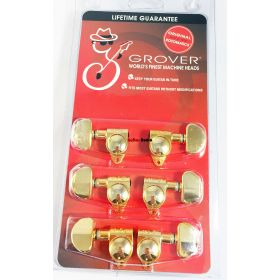 Grover 102G Original Rotomatic Guitar Machine Head Tuners, Set of 6 (3x3) GOLD