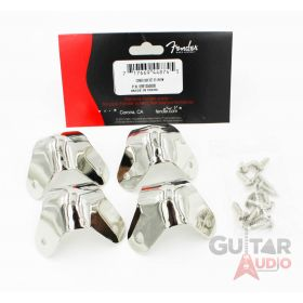 (Set of 4) Genuine Fender Nickel Metal Amp Corners 3-Screw Mounting with Screws