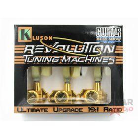 Kluson Revolution KRGLNC-3-GP 3X3 G-Mount Locking Non-Collared Tuners, GOLD
