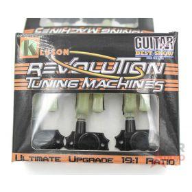 Kluson Revolution KRGLNC-3-BP 3X3 Locking Tuners, BLACK w/Keystone Pearloid But.