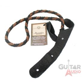 Lakota Leathers Round Braid Mandolin Strap - Black & Chocolate - RBCH