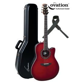 Ovation Legend 2077AX Acoustic-Electric Guitar - Cherry Red Burst w/ Case