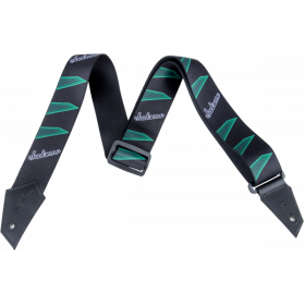 Genuine Jackson Logo Guitar Strap, Headstock Pattern, Black/Green