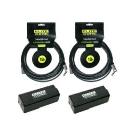 Elite Core 2 PACK 18' ft Headphone Extension Cables w/ Clipon Beltpack Adapters