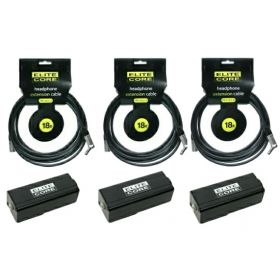 Elite Core 3 PACK 18' ft Headphone Extension Cables w/ Clipon Beltpack Adapters