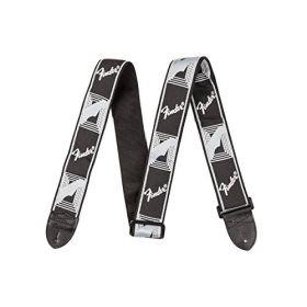 """Genuine Fender 2"""" Monogrammed Adjustable Guitar Strap w/ Fender Logo, Black/Grey"""