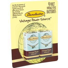 Danelectro DB-2PK 9-Volt Batteries for Guitar Effects Pedals (2-Pack)