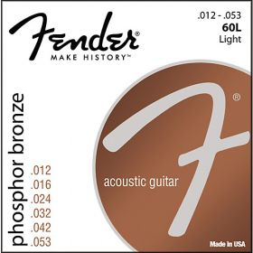 Fender 60L Phosphor Bronze Acoustic Guitar Strings - LIGHT 12-53