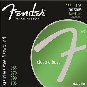 Fender 9050M Stainless Flatwound Electric Bass Strings, Long Scale MEDIUM 55-105