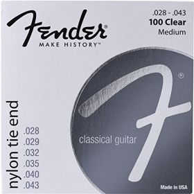 Fender 100 Clear Nylon Tie End Classical Guitar Strings - MEDIUM 28-43