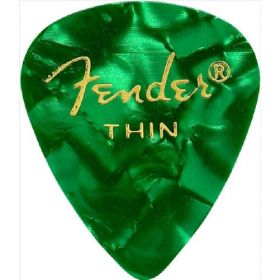 Fender 351 Premium Celluloid Guitar Picks - THIN GREEN MOTO - 12-Pack (1 Dozen)