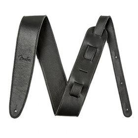 """Genuine Fender Artisan Crafted Leather Adjustable Guitar Strap, 2.5"""" Wide, Black"""
