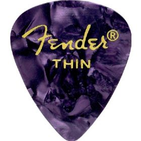 Fender 351 Premium Celluloid Guitar Picks - THIN PURPLE MOTO - 12-Pack (1 Dozen)