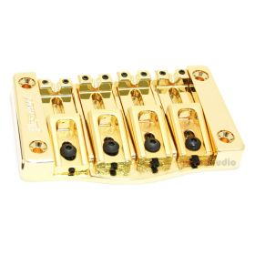 "Hipshot 5T400G 4-String TransTone Flat Mount .750"" Spacing Bass Bridge - GOLD"