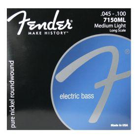 Fender 7150ML Pure-Nickel Roundwound Bass Strings Long-Scale MEDIUM-LIGHT 45-100