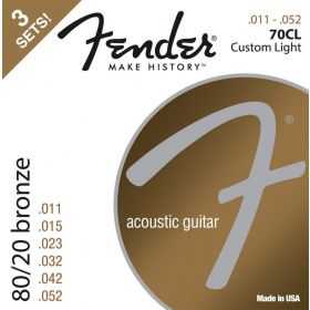 3-PACK Fender 70CL 80/20 Bronze Acoustic Guitar Strings - CUSTOM LIGHT 11-52