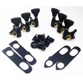 Hipshot BLACK 3+3 Classic Open-Gear Machines 3x3 Tuners w/ UMP for PRS Guitars