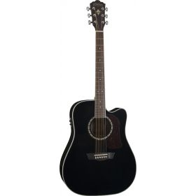 Washburn HD10SCEB Heritage Dreadnought Cutaway Acoustic-Electric Guitar - Black