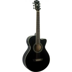 Wahsburn Festival EA10B Petite Jumbo Cutaway Acoustic-Electric Guitar - BLACK