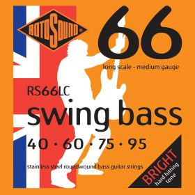 Rotosound Swing Bass Stainless Steel Roundwound Bass Strings RS66LC MEDIUM 40-95