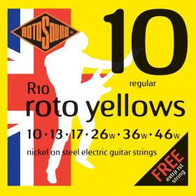 Rotosound Roto Yellows Nickel on Steel Electric Guitar Strings R10 REGULAR 10-46