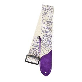 Daisy Rock Purple & White Floral Adjustable Guitar Strap - DRS08