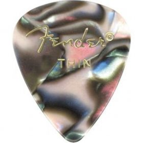 Fender 351 Premium Celluloid Guitar Picks - THIN ABALONE - 12-Pack (1 Dozen)