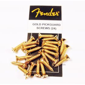 Genuine Fender Guitar GOLD Pickguard Mounting Screws - Package of 24