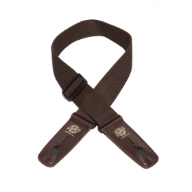 Lock-It Professional Poly Guitar Strap with Locking Leather Ends, Brown