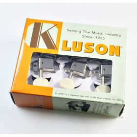 Kluson 3x3 Guitar Tuning Machines 3 Per Side - Nickel with Plastic Oval Buttons